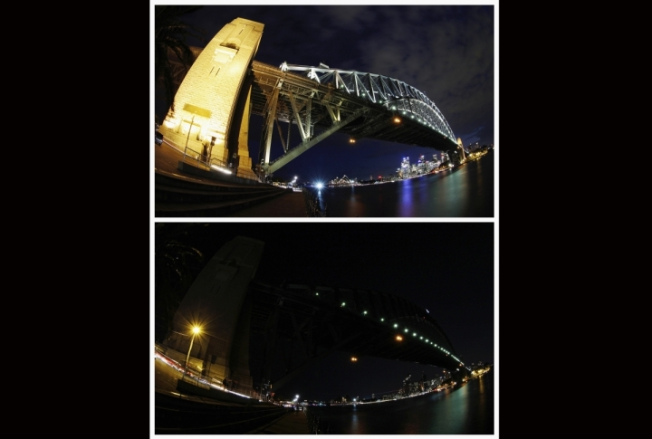 Combo picture shows Sydney Harbour Bridge and city skyline before and during Earth Hour. ©REUTERS/TIM WIMBORNE