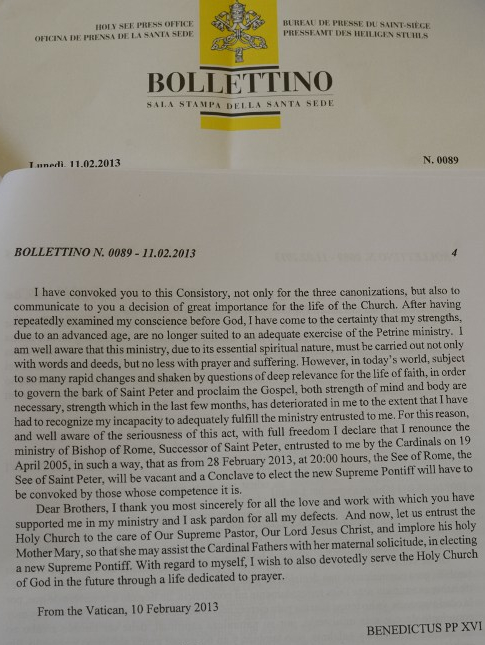 A copy in English of the text in Latin read by Pope Benedict XVI earlier in the day announcing his resignation on February 11, 2013 at the Vatican. ©AFP