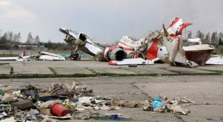 The debris of Polish President Lech Kaczynski's Tu-154 aircraft at Smolensk airfield's secured area. ©RIA Novosti