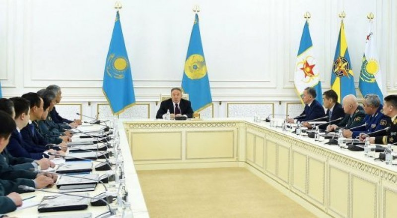 President of Kazakhstan Nursultan Nazarbayev meets military commanders. Photo courtesy of Akorda.kz