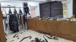 Pallada gun shop after the June 5 attack in Aktobe, Kazakhstan. Photo from social networks.