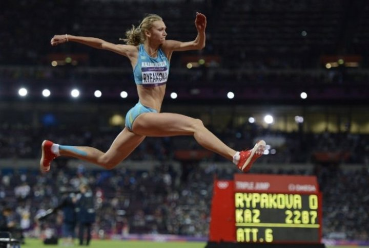 Kazakhstan athlete Olga Rypakova at London Olympics-2012. ©AFP