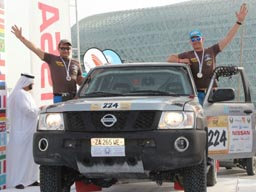 The crew of Kazakhstan team Off Road Kazakhstan, Denis Berezovskiy and Aleksei Nikizhev won in T2 class and get the 11th place in the general standings at the Abu Dhabi Challenge-2013.