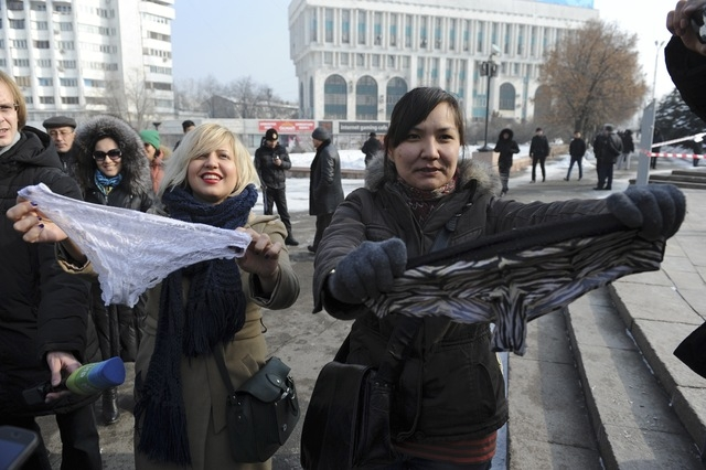 Women protest against the ban of lace underwear in Almaty, Kazakhstan. ©Vladimir Tretyakov